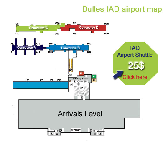 Washington Dulles airport map : IAD Terminal services