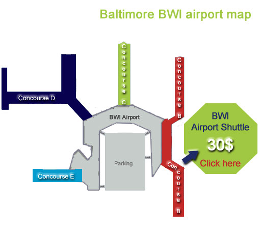 Baltimore Airport Map Baltimore airport map : BWI Terminal services & airlines Baltimore Airport Map